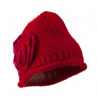 Women's Acrylic Knit Beanie with Spiral Flower - Red