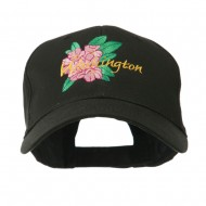 USA State Flower Washington Rhododendron Embroidered Cap - Black