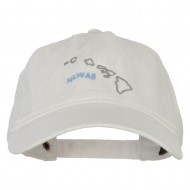 Hawaii with Map Outline Embroidered Washed Cotton Twill Cap - White