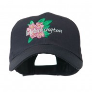 USA State Flower Washington Rhododendron Embroidered Cap - Navy