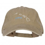 Hawaii with Map Outline Embroidered Washed Cotton Twill Cap - Khaki