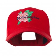 USA State Flower Washington Rhododendron Embroidered Cap - Red