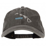 Hawaii with Map Outline Embroidered Washed Cotton Twill Cap - Black