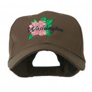 USA State Flower Washington Rhododendron Embroidered Cap - Brown