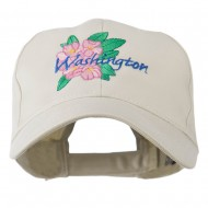 USA State Flower Washington Rhododendron Embroidered Cap - Stone