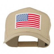 White American Flag Patched Cap - Khaki