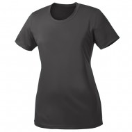 Women's Big Size Port & Company Polyester Performance T-Shirt - Charcoal