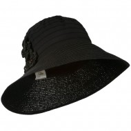 Women's Crushable Hat with Paper Braid Brim - Black