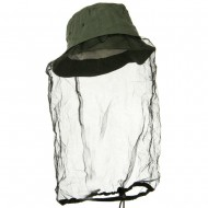 Washed Cotton Twill Mosquito Net Hat - Olive