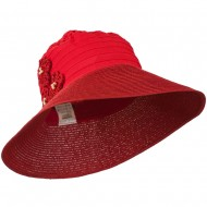 Women's Crushable Hat with Paper Braid Brim - Coral Red