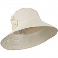 Women's Crushable Hat with Paper Braid Brim - Ivory