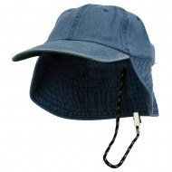 Washed Cotton Flap Hat-Navy