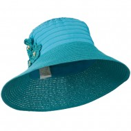 Women's Crushable Hat with Paper Braid Brim - Turquoise