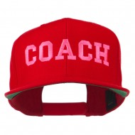 Women's Coach Embroidered Flat Bill Cap - Red