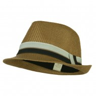 Men's Wide Band Paper Braid Fedora - Brown
