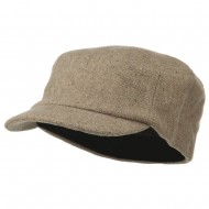 Wool Fashion Fitted Engineer Cap-Khaki
