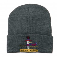 Snowman Welcome Winter Embroidered Beanie - Grey