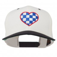 Checkered Heart Embroidered Wool Blend Cap - Natural Black
