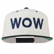 Wow Embroidered Snapback Cap - Natural Black