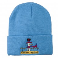 Snowman Welcome Winter Embroidered Beanie - Sky Blue