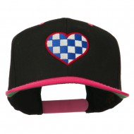Checkered Heart Embroidered Wool Blend Cap - Black Pink