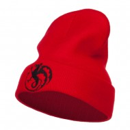 Wyvern Emblem Embroidered Long Beanie - Red