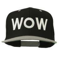 Wow Embroidered Snapback Cap - Black Silver