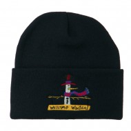 Snowman Welcome Winter Embroidered Beanie - Navy