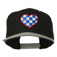 Checkered Heart Embroidered Wool Blend Cap - Black Silver