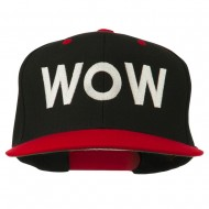 Wow Embroidered Snapback Cap - Black Red