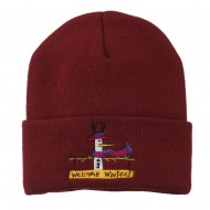 Snowman Welcome Winter Embroidered Beanie - Maroon