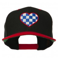 Checkered Heart Embroidered Wool Blend Cap - Black Red