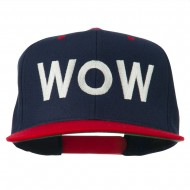 Wow Embroidered Snapback Cap - Navy Red