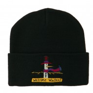 Snowman Welcome Winter Embroidered Beanie - Black