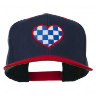 Checkered Heart Embroidered Wool Blend Cap - Navy Red