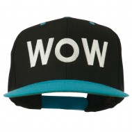 Wow Embroidered Snapback Cap - Black Teal