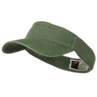 Washed Pigment Dyed Cotton Twill Flex Sun Visor - Olive Green