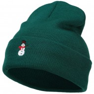 Snowman with Scarf Embroidered Long Beanie - Dk Green