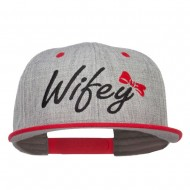 Wifey Ribbon Embroidered Flat Bill Snapback - Red Grey