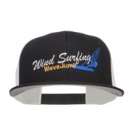 Wind Surfing Embroidered Snapback Mesh Cap - White Black