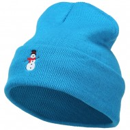 Snowman with Scarf Embroidered Long Beanie - Aqua