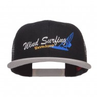Wind Surfing Embroidered Snapback Mesh Cap - Grey Black