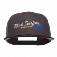 Wind Surfing Embroidered Snapback Mesh Cap - Black Charcoal