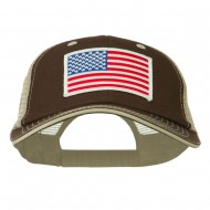 White American Flag Big Size Garment Washed Mesh Patched Cap - Khaki Brown
