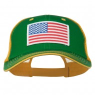 White American Flag Big Size Garment Washed Mesh Patched Cap - Kelly Gold