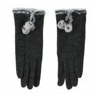 Women's Wool Texting Glove with Faux Fur Trim - Grey