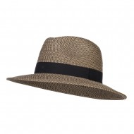 UPF 50+ Women's Large Brim Fedora - Black Tweed