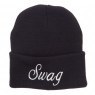 White SWAG Embroidered Long Beanie - Black