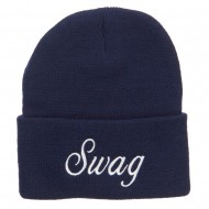 White SWAG Embroidered Long Beanie - Navy