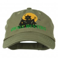 Halloween Ghost Hunting Embroidered Pet Spun Cap - Olive